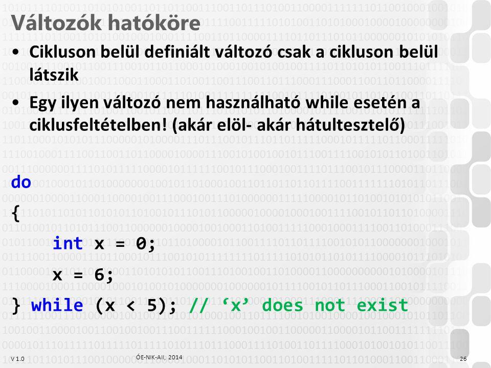 V 1.0 Változók hatóköre Cikluson belül definiált változó csak a cikluson belül látszik Egy ilyen változó nem használható while esetén a ciklusfeltétel