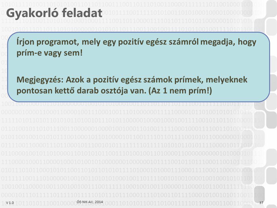 V 1.0 Írjon programot, mely egy pozitív egész számról megadja, hogy prím-e vagy sem! Megjegyzés: Azok a pozitív egész számok prímek, melyeknek pontosa