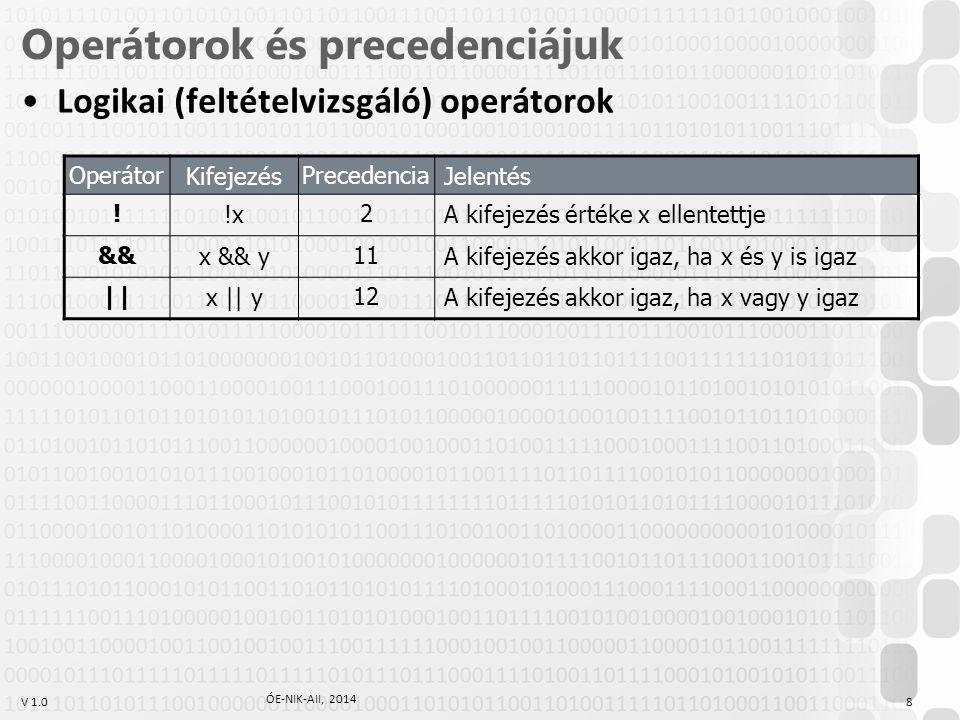 V 1.0 Operátorok és precedenciájuk Logikai (feltételvizsgáló) operátorok Operátor Kifejezés Precedencia Jelentés ! !x 2 A kifejezés értéke x ellentett