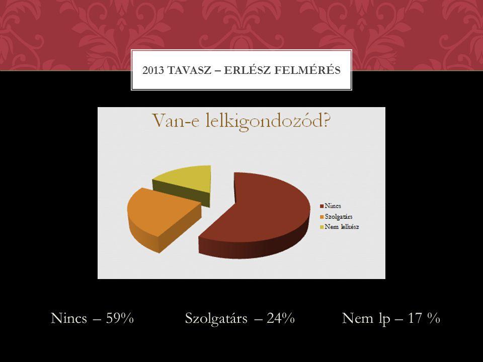 Nincs – 59% Szolgatárs – 24% Nem lp – 17 % 2013 TAVASZ – ERLÉSZ FELMÉRÉS
