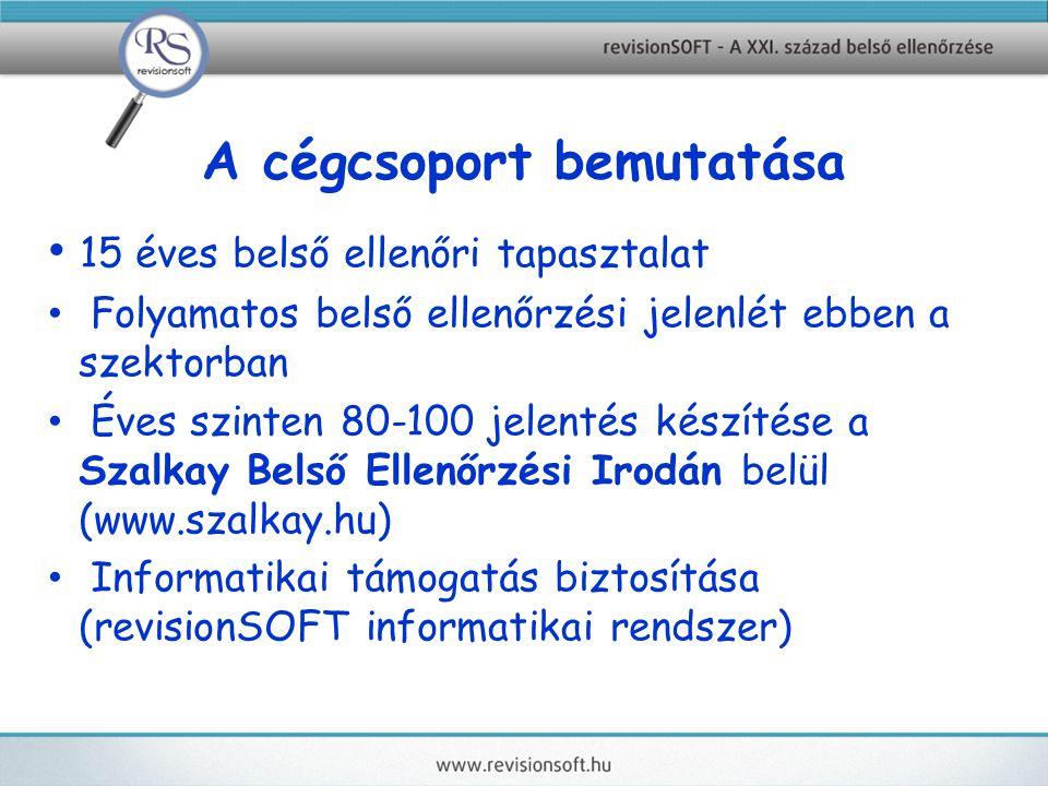 A cégcsoport bemutatása 15 éves belső ellenőri tapasztalat Folyamatos belső ellenőrzési jelenlét ebben a szektorban Éves szinten 80-100 jelentés készítése a Szalkay Belső Ellenőrzési Irodán belül (www.szalkay.hu) Informatikai támogatás biztosítása (revisionSOFT informatikai rendszer)