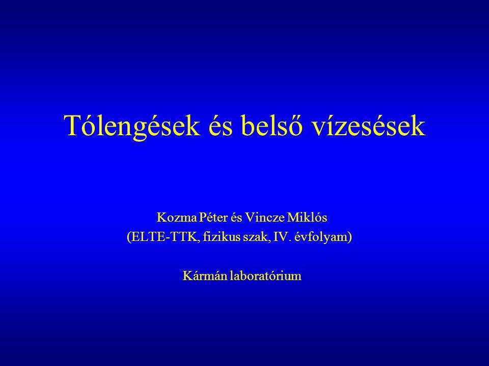 Tólengések és belső vízesések Kozma Péter és Vincze Miklós (ELTE-TTK, fizikus szak, IV. évfolyam) Kármán laboratórium