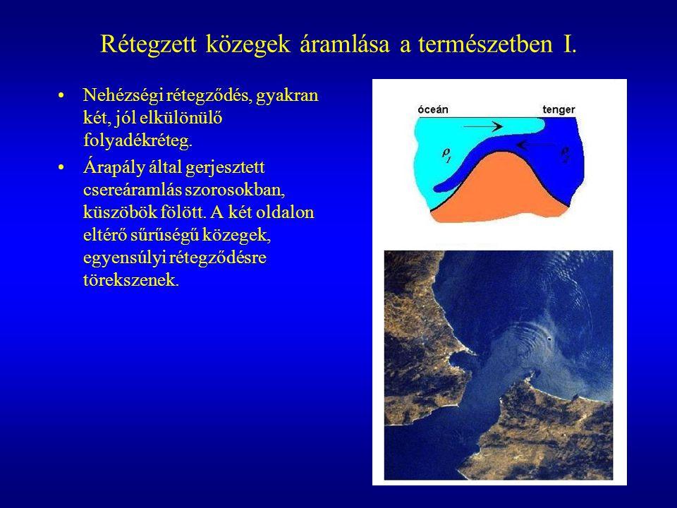 Rétegzett közegek áramlása a természetben I. Nehézségi rétegződés, gyakran két, jól elkülönülő folyadékréteg. Árapály által gerjesztett csereáramlás s