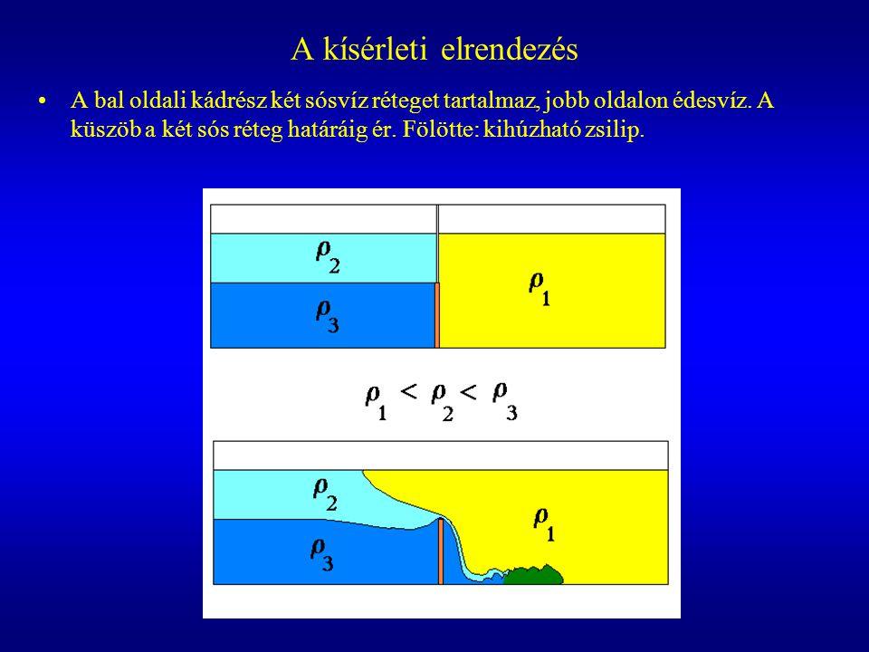 A kísérleti elrendezés A bal oldali kádrész két sósvíz réteget tartalmaz, jobb oldalon édesvíz. A küszöb a két sós réteg határáig ér. Fölötte: kihúzha