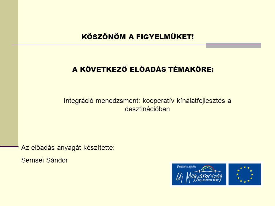 KÖSZÖNÖM A FIGYELMÜKET! A KÖVETKEZŐ ELŐADÁS TÉMAKÖRE: Az előadás anyagát készítette: Semsei Sándor Integráció menedzsment: kooperatív kínálatfejleszté