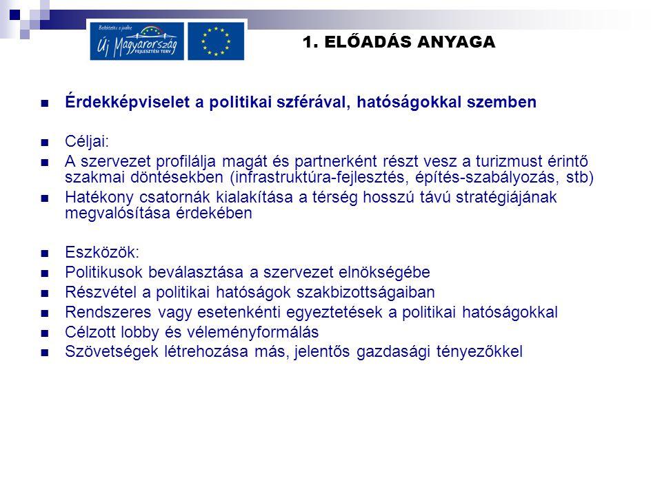 1. ELŐADÁS ANYAGA Érdekképviselet a politikai szférával, hatóságokkal szemben Céljai: A szervezet profilálja magát és partnerként részt vesz a turizmu