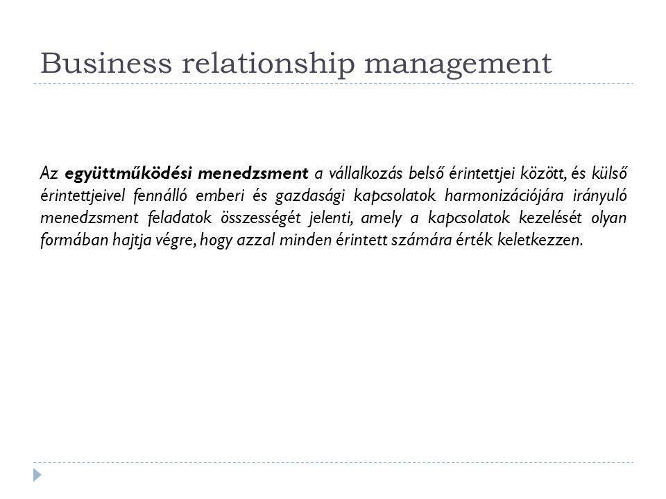 Business relationship management Az együttműködési menedzsment a vállalkozás belső érintettjei között, és külső érintettjeivel fennálló emberi és gazd