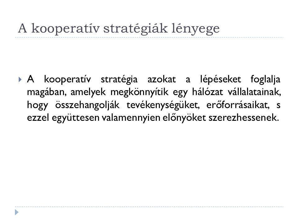 A kooperatív stratégiák lényege  A kooperatív stratégia azokat a lépéseket foglalja magában, amelyek megkönnyítik egy hálózat vállalatainak, hogy öss