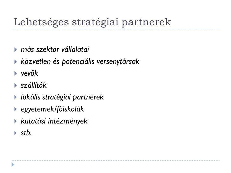 Lehetséges stratégiai partnerek  más szektor vállalatai  közvetlen és potenciális versenytársak  vevők  szállítók  lokális stratégiai partnerek 