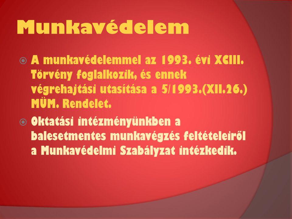 Munkavédelem  A munkavédelemmel az 1993. évi XCIII. Törvény foglalkozik, és ennek végrehajtási utasítása a 5/1993.(XII.26.) MÜM. Rendelet.  Oktatási