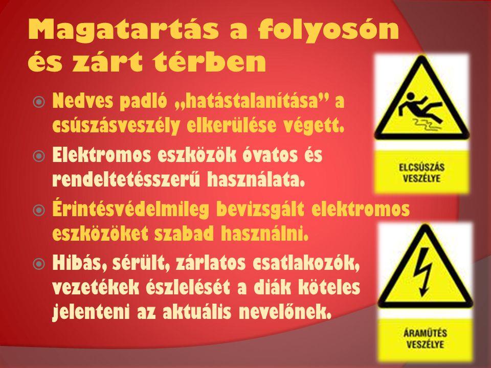 """Magatartás a folyosón és zárt térben  Nedves padló """"hatástalanítása"""" a csúszásveszély elkerülése végett.  Elektromos eszközök óvatos és rendeltetéss"""