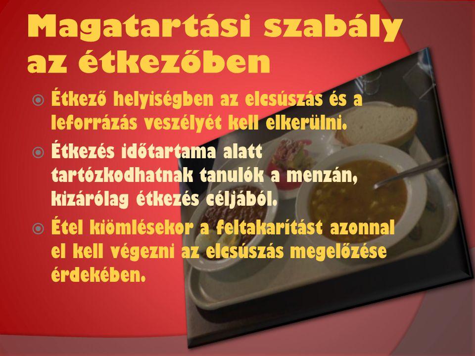 Magatartási szabály az étkezőben  Étkező helyiségben az elcsúszás és a leforrázás veszélyét kell elkerülni.  Étkezés időtartama alatt tartózkodhatna