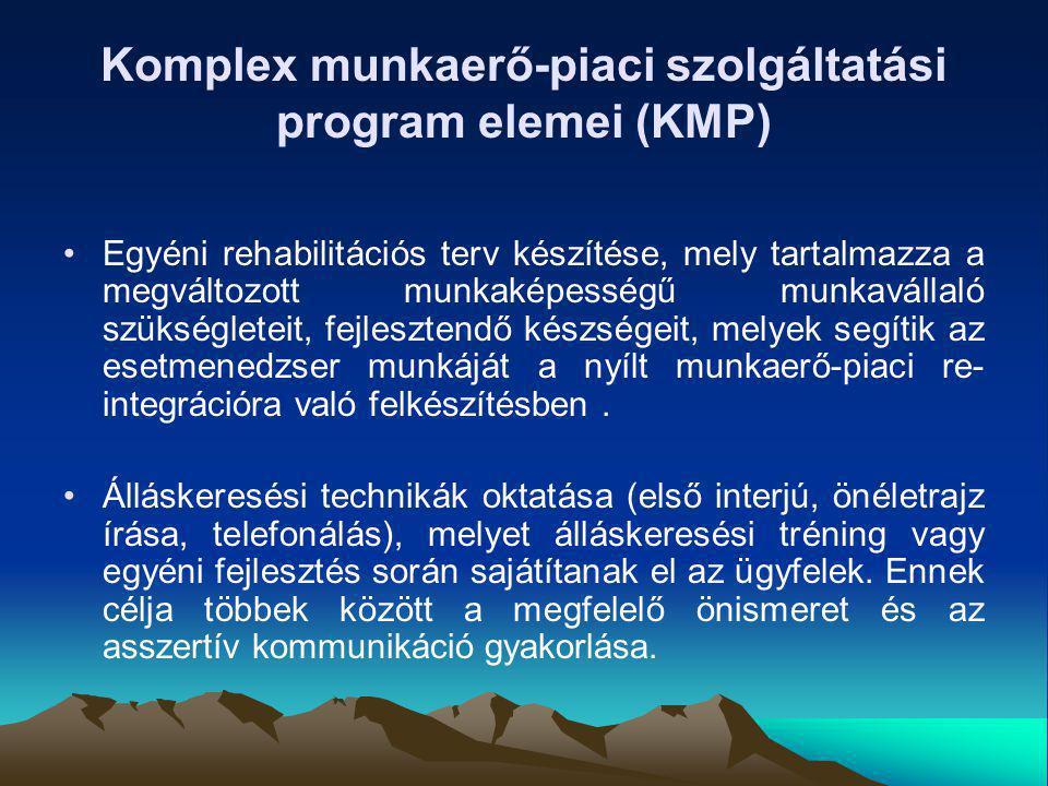 Komplex munkaerő-piaci szolgáltatási program elemei (KMP) Egyéni rehabilitációs terv készítése, mely tartalmazza a megváltozott munkaképességű munkavá