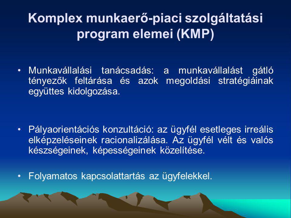 Komplex munkaerő-piaci szolgáltatási program elemei (KMP) Munkavállalási tanácsadás: a munkavállalást gátló tényezők feltárása és azok megoldási strat