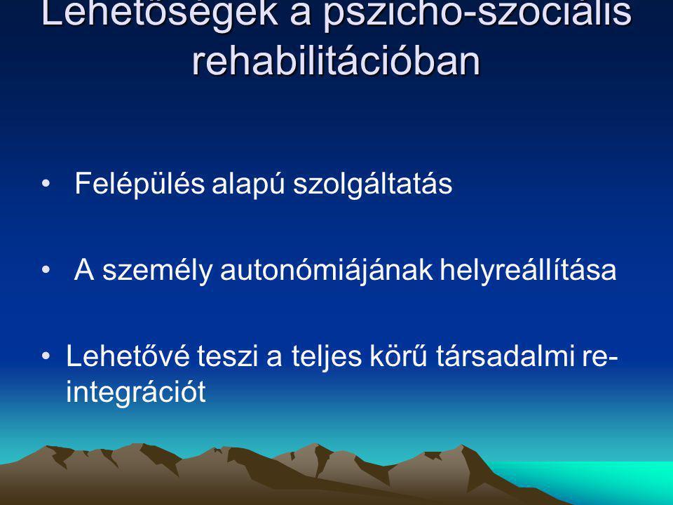 Lehetőségek a pszicho-szociális rehabilitációban Felépülés alapú szolgáltatás A személy autonómiájának helyreállítása Lehetővé teszi a teljes körű tár