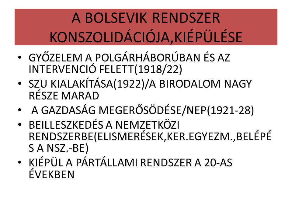 A BOLSEVIK RENDSZER KONSZOLIDÁCIÓJA,KIÉPÜLÉSE GYŐZELEM A POLGÁRHÁBORÚBAN ÉS AZ INTERVENCIÓ FELETT(1918/22) SZU KIALAKÍTÁSA(1922)/A BIRODALOM NAGY RÉSZ