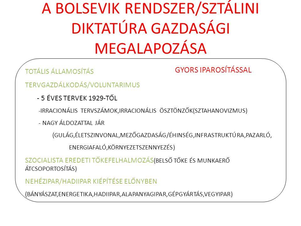 A BOLSEVIK RENDSZER/SZTÁLINI DIKTATÚRA GAZDASÁGI MEGALAPOZÁSA TOTÁLIS ÁLLAMOSÍTÁS TERVGAZDÁLKODÁS/VOLUNTARIMUS - 5 ÉVES TERVEK 1929-TŐL -IRRACIONÁLIS