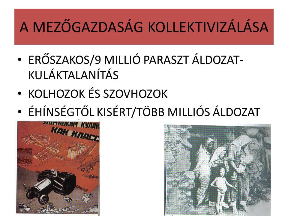 A MEZŐGAZDASÁG KOLLEKTIVIZÁLÁSA ERŐSZAKOS/9 MILLIÓ PARASZT ÁLDOZAT- KULÁKTALANÍTÁS KOLHOZOK ÉS SZOVHOZOK ÉHÍNSÉGTŐL KISÉRT/TÖBB MILLIÓS ÁLDOZAT