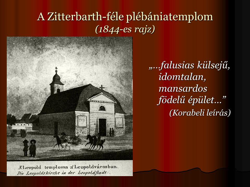 """A Zitterbarth-féle plébániatemplom (1844-es rajz) """"…falusias külsejű, idomtalan, mansardos födelű épület… (Korabeli leírás) (Korabeli leírás)"""