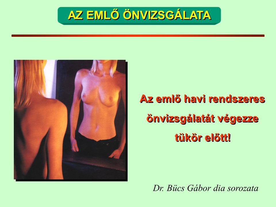 AZ EMLŐ ÖNVIZSGÁLATA Az emlő havi rendszeres önvizsgálatát végezze tükör előtt! Dr. Bücs Gábor dia sorozata