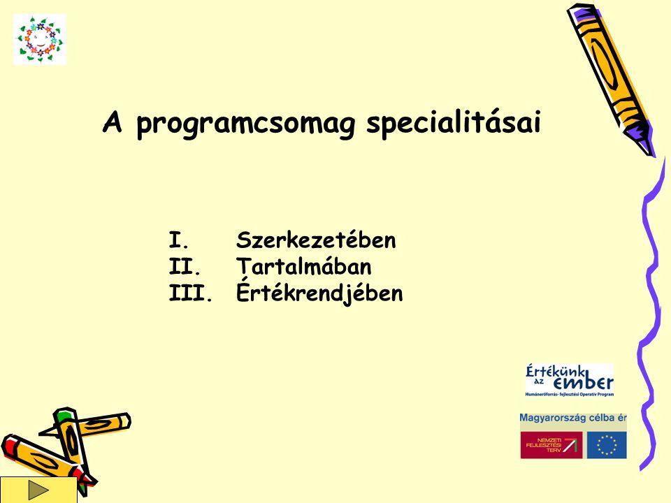 I.Szerkezetében II.Tartalmában III.Értékrendjében A programcsomag specialitásai