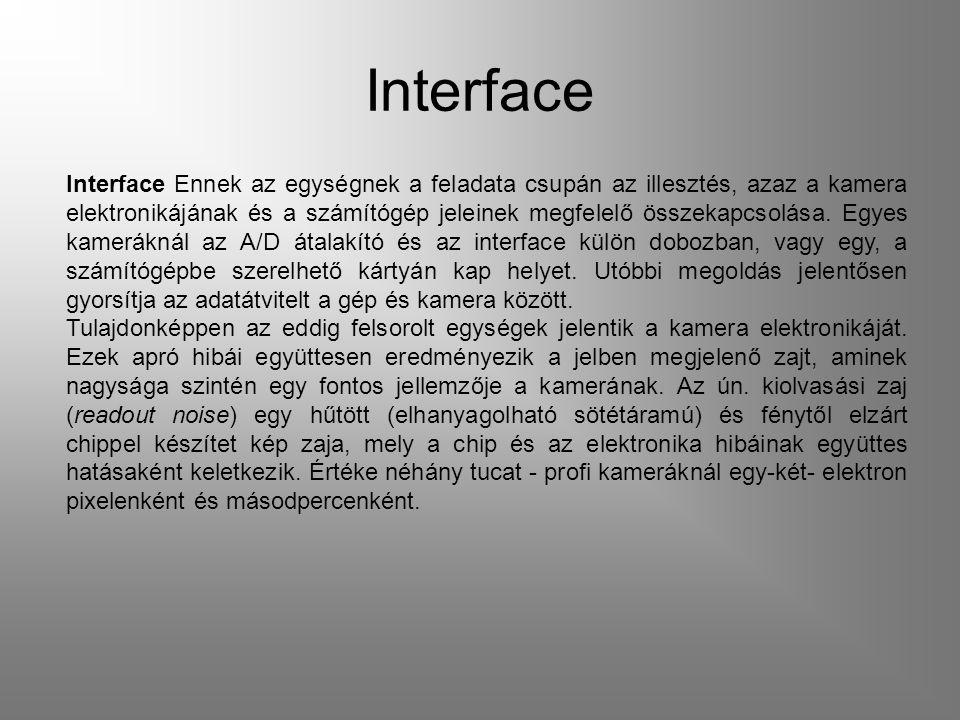 Interface Interface Ennek az egységnek a feladata csupán az illesztés, azaz a kamera elektronikájának és a számítógép jeleinek megfelelő összekapcsolása.