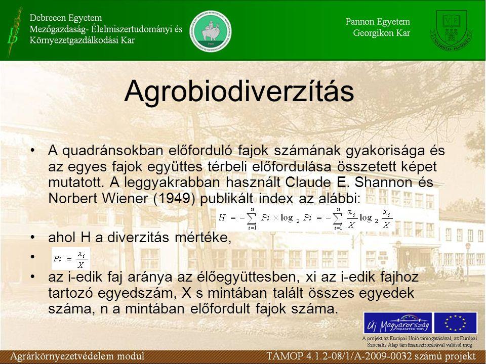 Agrobiodiverzítás A quadránsokban előforduló fajok számának gyakorisága és az egyes fajok együttes térbeli előfordulása összetett képet mutatott. A le