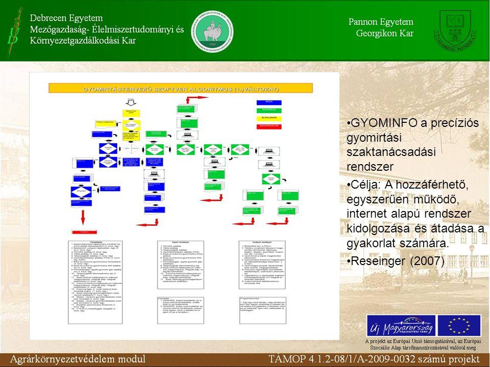 GYOMINFO a precíziós gyomirtási szaktanácsadási rendszer Célja: A hozzáférhető, egyszerűen működő, internet alapú rendszer kidolgozása és átadása a gy