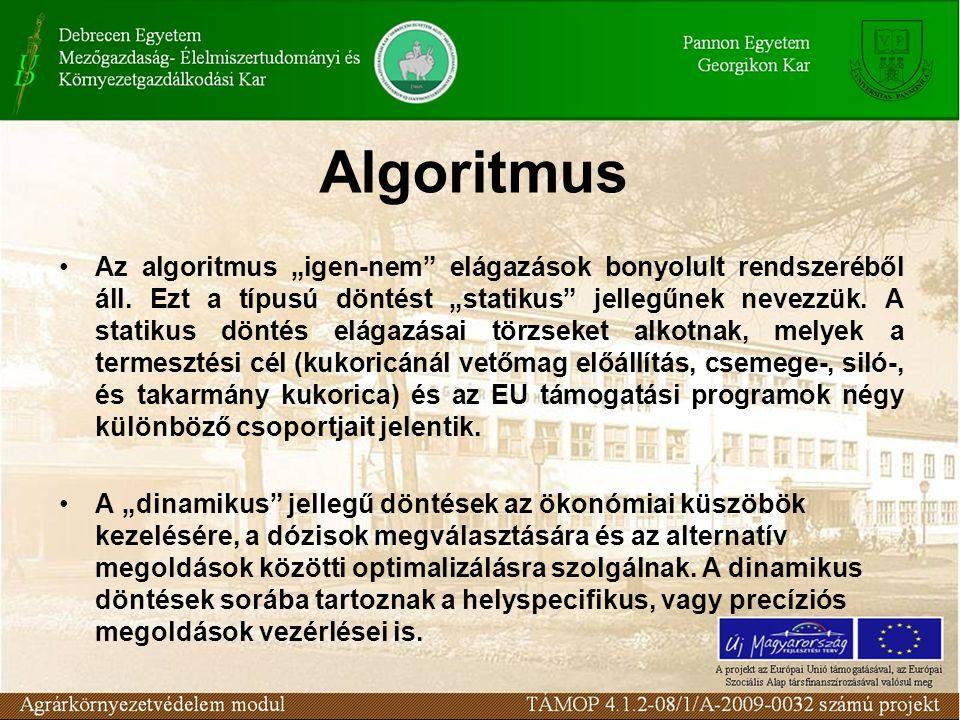 """Algoritmus Az algoritmus """"igen-nem"""" elágazások bonyolult rendszeréből áll. Ezt a típusú döntést """"statikus"""" jellegűnek nevezzük. A statikus döntés elág"""