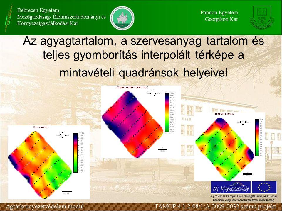 Az agyagtartalom, a szervesanyag tartalom és teljes gyomborítás interpolált térképe a mintavételi quadránsok helyeivel
