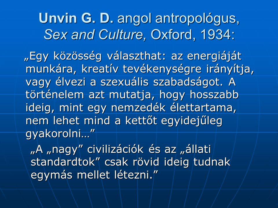 """Unvin G. D. angol antropológus, Sex and Culture, Oxford, 1934: """"Egy közösség választhat: az energiáját munkára, kreatív tevékenységre irányítja, vagy"""