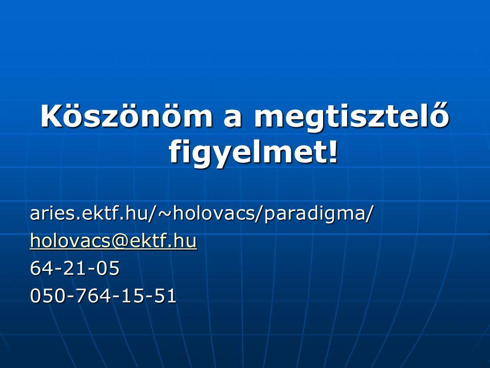Köszönöm a megtisztelő figyelmet! aries.ektf.hu/~holovacs/paradigma/ holovacs@ektf.hu 64-21-05050-764-15-51