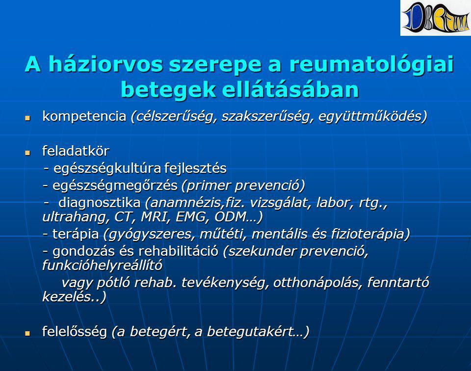 A háziorvos szerepe a reumatológiai betegek ellátásában kompetencia (célszerűség, szakszerűség, együttműködés) kompetencia (célszerűség, szakszerűség,