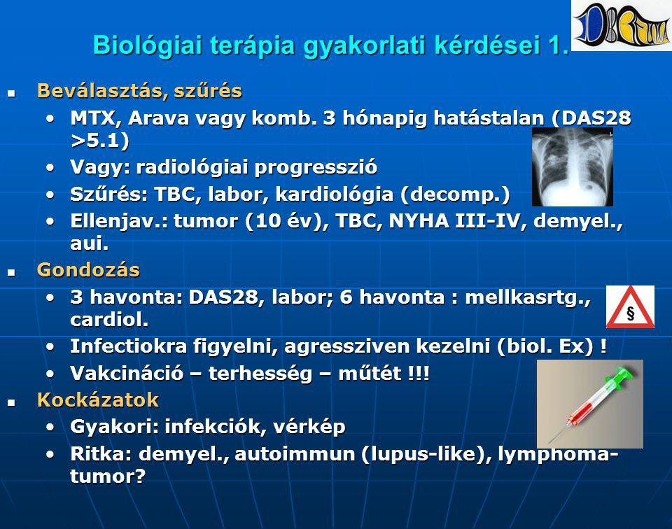 Biológiai terápia gyakorlati kérdései 1. Beválasztás, szűrés Beválasztás, szűrés MTX, Arava vagy komb. 3 hónapig hatástalan (DAS28 >5.1)MTX, Arava vag