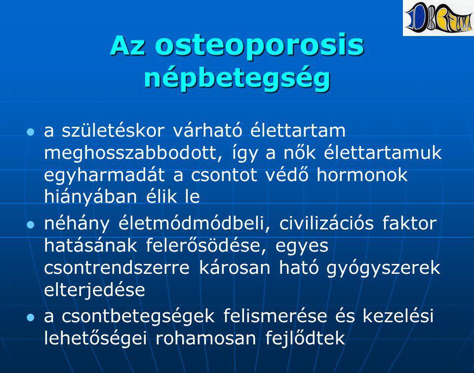 Az osteoporosis népbetegség a születéskor várható élettartam meghosszabbodott, így a nők élettartamuk egyharmadát a csontot védő hormonok hiányában él