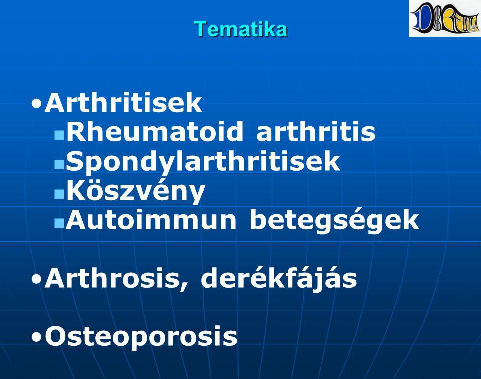 Tematika Arthritisek Rheumatoid arthritis Spondylarthritisek Köszvény Autoimmun betegségek Arthrosis, derékfájás Osteoporosis