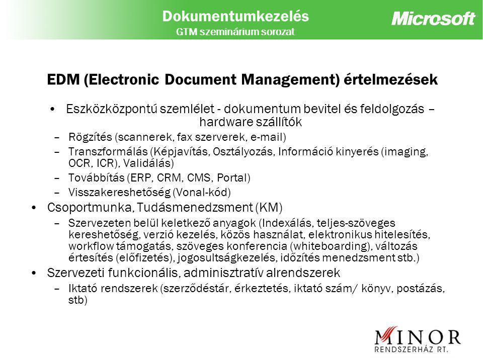 Dokumentumkezelés GTM szeminárium sorozat EDM (Electronic Document Management) értelmezések Eszközközpontú szemlélet - dokumentum bevitel és feldolgozás – hardware szállítók –Rögzítés (scannerek, fax szerverek, e-mail) –Transzformálás (Képjavítás, Osztályozás, Információ kinyerés (imaging, OCR, ICR), Validálás) –Továbbítás (ERP, CRM, CMS, Portal) –Visszakereshetőség (Vonal-kód) Csoportmunka, Tudásmenedzsment (KM) –Szervezeten belül keletkező anyagok (Indexálás, teljes-szöveges kereshetőség, verzió kezelés, közös használat, elektronikus hitelesítés, workflow támogatás, szöveges konferencia (whiteboarding), változás értesítés (előfizetés), jogosultságkezelés, időzítés menedzsment stb.) Szervezeti funkcionális, adminisztratív alrendszerek –Iktató rendszerek (szerződéstár, érkeztetés, iktató szám/ könyv, postázás, stb)