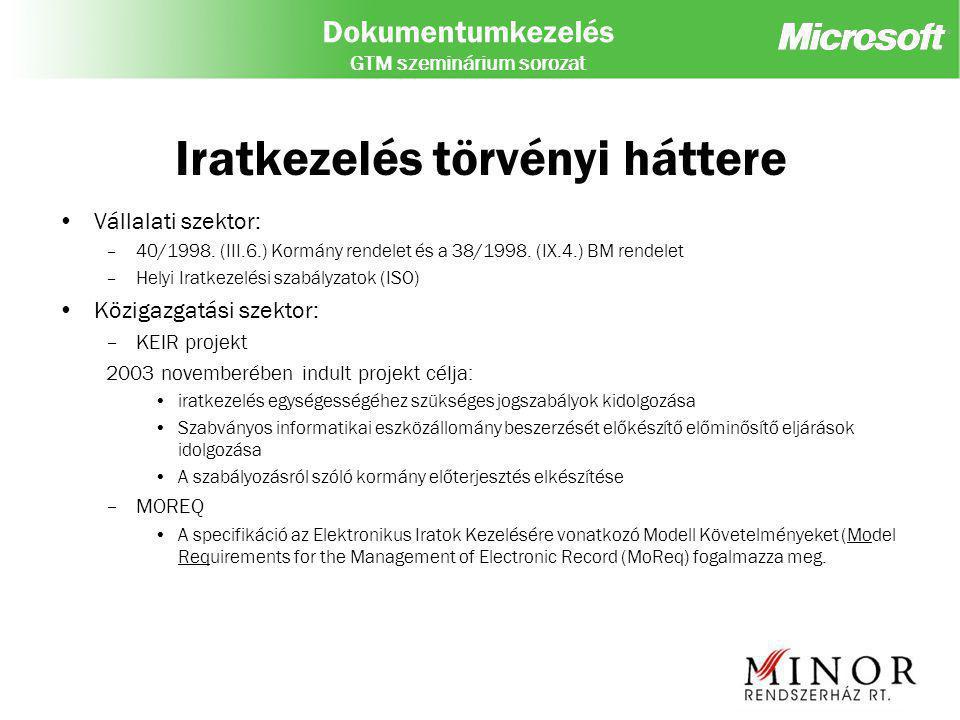 Dokumentumkezelés GTM szeminárium sorozat Bevezetési nehézségek Kompatibilitás – Meglévő rendszerek támogatása (Ügyviteli, Pénzügyi, CRM, IT támogató szoftverek) – Standard formátumok támogatása BMP, TIFF, HTML, XML, PDF Integráció alacsony szintje –Humán erőforrás alapú integráció jelenléte –Adatkonzisztencia hiánya, –üzleti folyamatok alkalmazásokba integráltan jelennek meg Könnyű adaptálhatóság –Szervezeti ellenállás, –workflow és docflow változás –Papír alapú dokumentumok racionalizálása