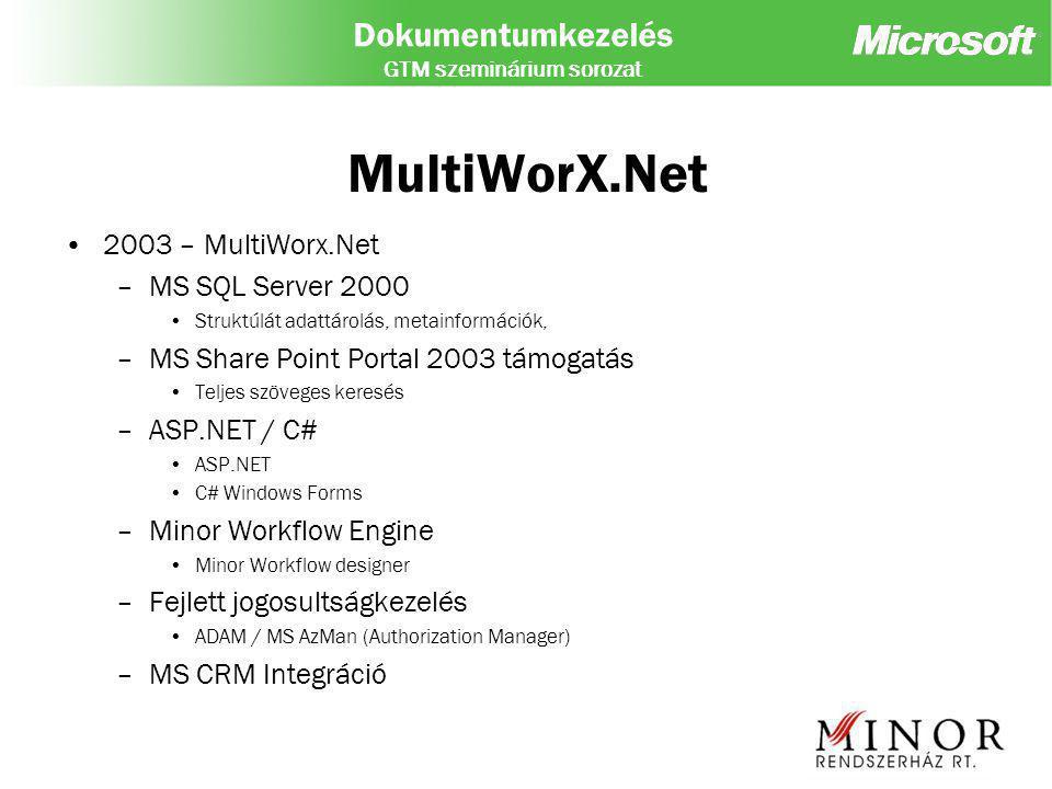 Dokumentumkezelés GTM szeminárium sorozat MultiWorX – SPS 2003 Document workspace (task, links, shared dokumentumok) Dokumentum Library –Standard (verzió követés, check-in/check-out, jóváhagyás) –Backward-compatible – WSS alapú (jóváhagyás routing) – plusz szerep (Olvasó, Szerző, Koordinátor mellet megjelenik a – jóváhagyó) Soros vagy párhuzamos jóváhagyás