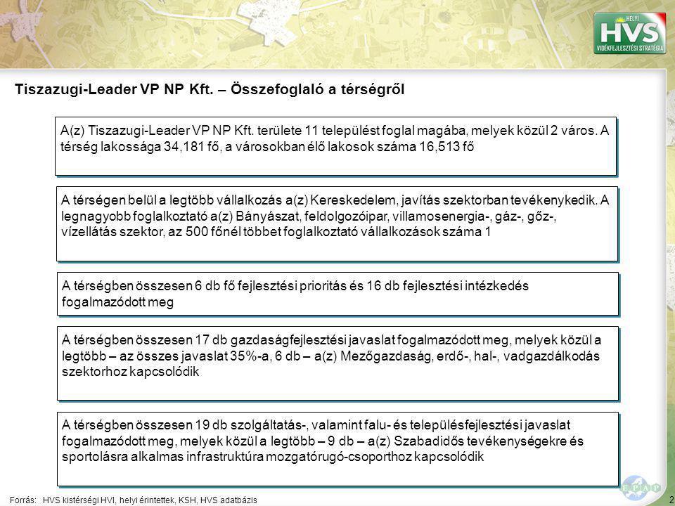 2 Forrás:HVS kistérségi HVI, helyi érintettek, KSH, HVS adatbázis Tiszazugi-Leader VP NP Kft. – Összefoglaló a térségről A térségen belül a legtöbb vá