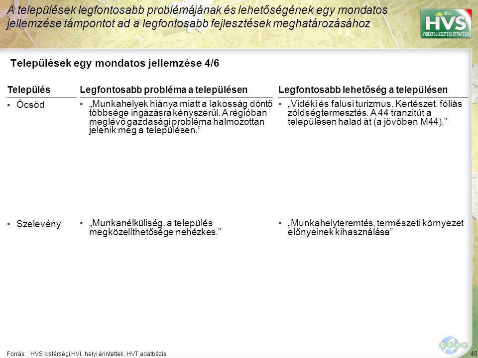 """40 Települések egy mondatos jellemzése 4/6 A települések legfontosabb problémájának és lehetőségének egy mondatos jellemzése támpontot ad a legfontosabb fejlesztések meghatározásához Forrás:HVS kistérségi HVI, helyi érintettek, HVT adatbázis TelepülésLegfontosabb probléma a településen ▪Öcsöd ▪""""Munkahelyek hiánya miatt a lakosság döntő többsége ingázásra kényszerül."""