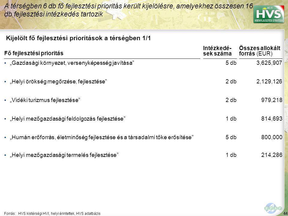 44 Kijelölt fő fejlesztési prioritások a térségben 1/1 A térségben 6 db fő fejlesztési prioritás került kijelölésre, amelyekhez összesen 16 db fejlesz