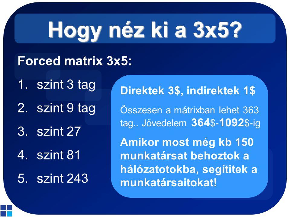 Hogy néz ki a 3x5? Forced matrix 3x5: 1.szint 3 tag 2.szint 9 tag 3.szint 27 4.szint 81 5.szint 243 Direktek 3$, indirektek 1$ Összesen a mátrixban le