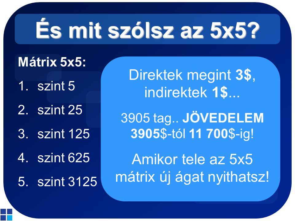 És mit szólsz az 5x5? Mátrix 5x5: 1.szint 5 2.szint 25 3.szint 125 4.szint 625 5.szint 3125 Direktek megint 3$, indirektek 1$... 3905 tag.. JÖVEDELEM