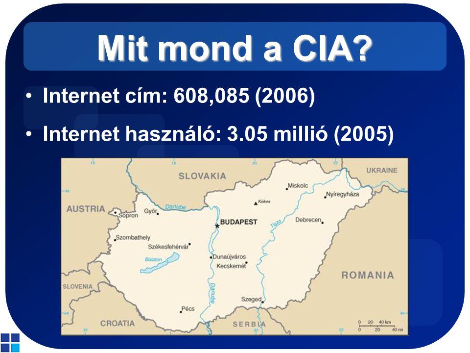 Mit mond a CIA? Internet cím: 608,085 (2006) Internet használó: 3.05 millió (2005)