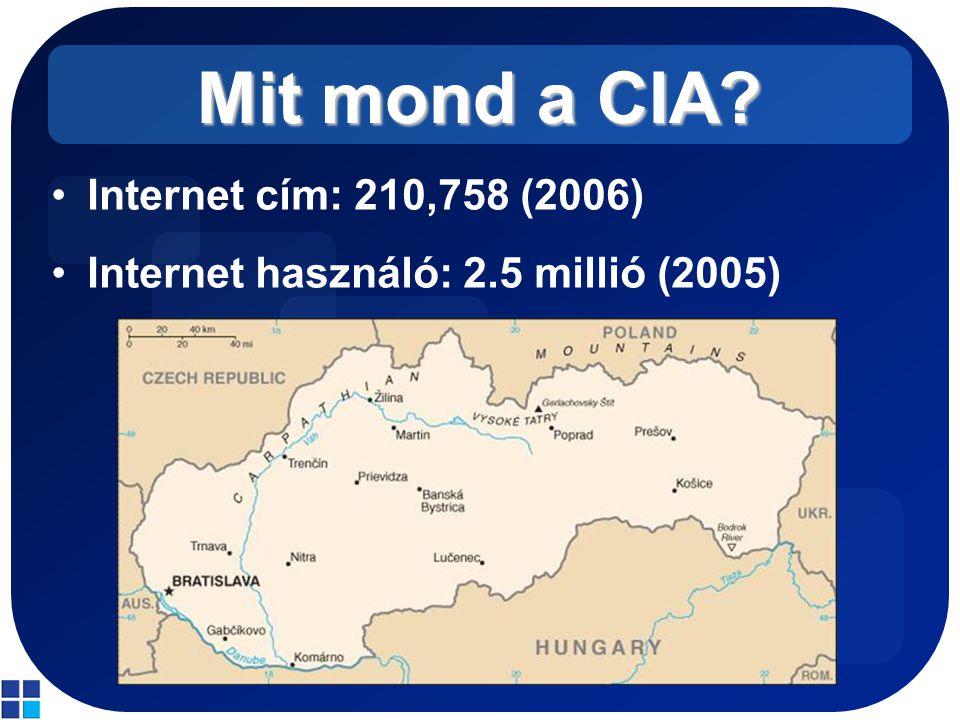 Mit mond a CIA? Internet cím: 210,758 (2006) Internet használó: 2.5 millió (2005)