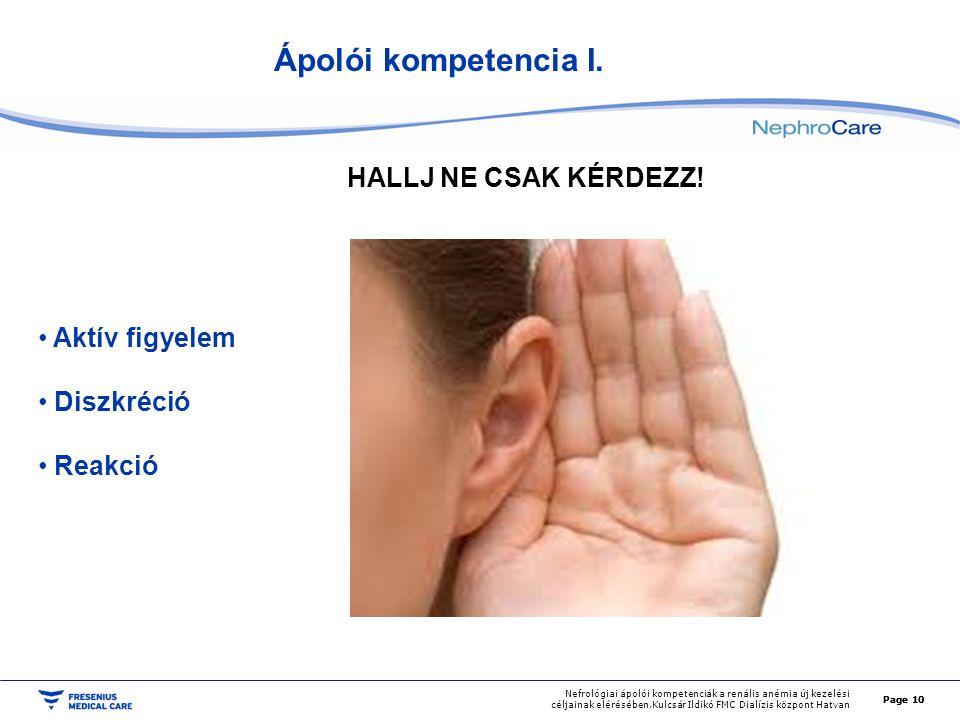 Page 11 Nefrológiai ápolói kompetenciák a renális anémia új kezelési céljainak elérésében,Kulcsár Ildikó FMC Dialízis központ Hatvan GONDOLKOZZ.