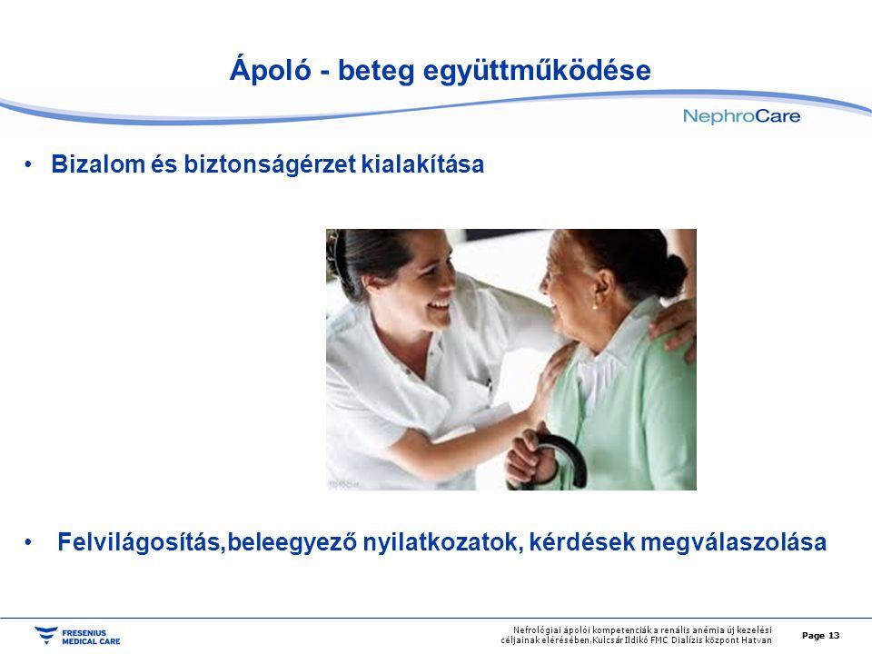 Page 13 Nefrológiai ápolói kompetenciák a renális anémia új kezelési céljainak elérésében,Kulcsár Ildikó FMC Dialízis központ Hatvan Ápoló - beteg egy