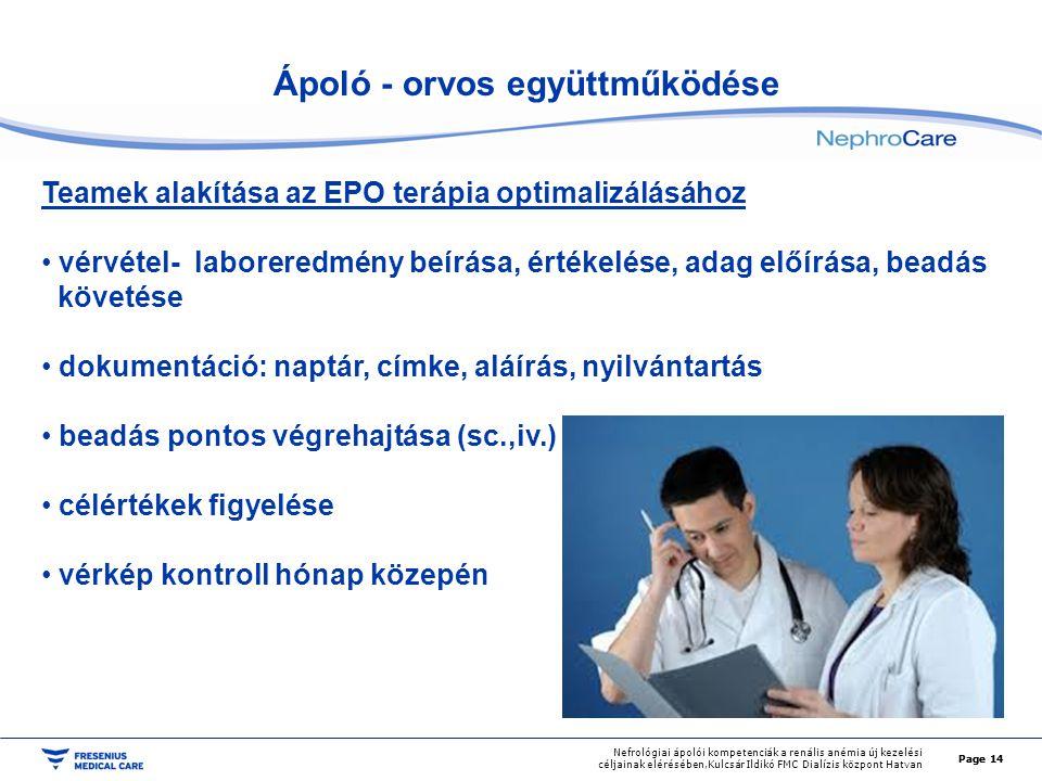Page 14 Nefrológiai ápolói kompetenciák a renális anémia új kezelési céljainak elérésében,Kulcsár Ildikó FMC Dialízis központ Hatvan Ápoló - orvos egy