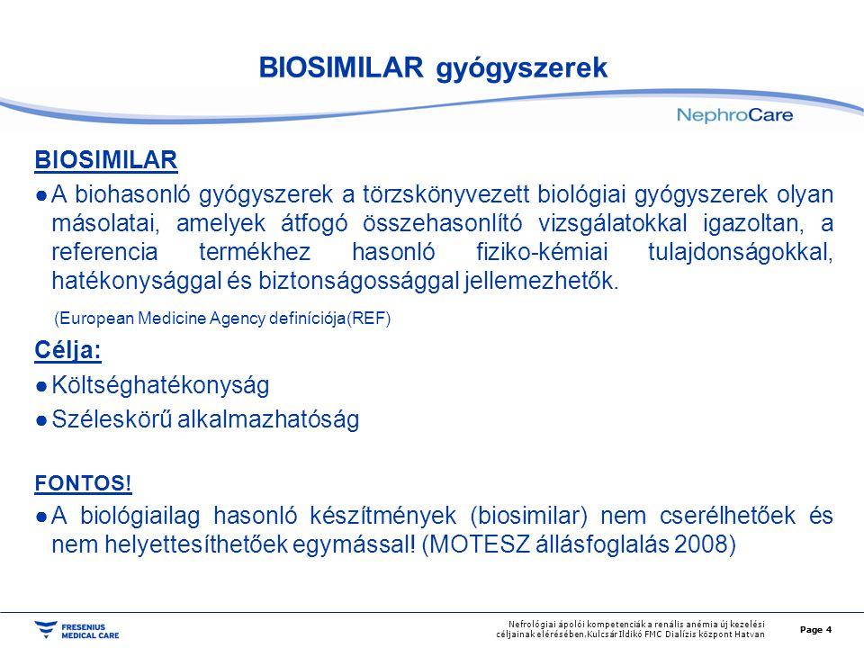 Page 5 Nefrológiai ápolói kompetenciák a renális anémia új kezelési céljainak elérésében,Kulcsár Ildikó FMC Dialízis központ Hatvan ERYTHROPOIETIN Alkalmazási területei: renális anémia - predializált, dializált, transzplantált betegek esetén onkológiai indikáció - kemoterápiával kezelt non myeloid daganatok nagy vérigényű műtét előtt 1-3 hétig, ha a vérkonzerválás nem elegendő Page 5